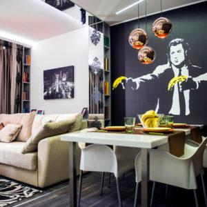 Проект недели: Голливудский шик в интерьере гостиной для двух поколений