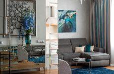Оттенки синего и блеск зеркал в двухуровневой квартире