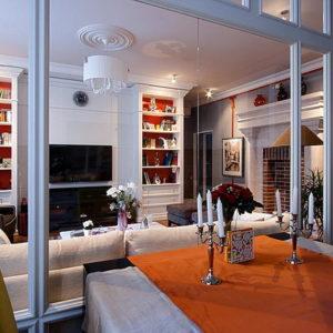 Гостиная недели: Стеклянная стена, большой камин и оранжевое настроение