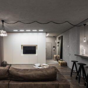 Квартира-студия на Остоженке в серых тонах