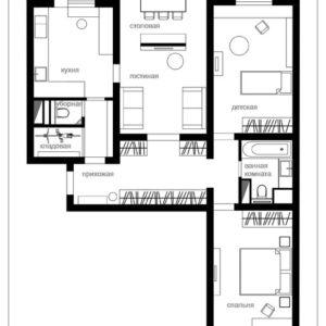Планировка: 3 решения для трехкомнатной квартиры типовой серии П-3М