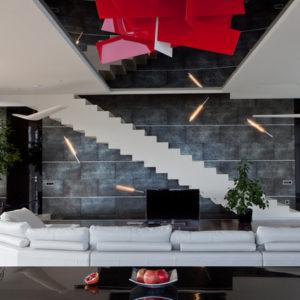Дом в стиле минимализм с лестницей в небо