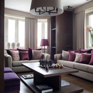 Элегантная квартира с фиолетовыми акцентами