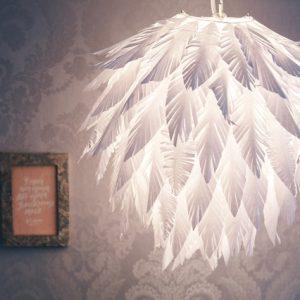 DIY: Как декорировать абажур бумажными перьями своими руками