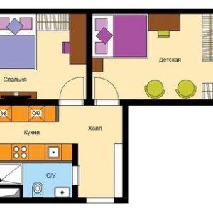 Перепланировка: 5 вариантов для двухкомнатной квартиры в доме КОПЭ