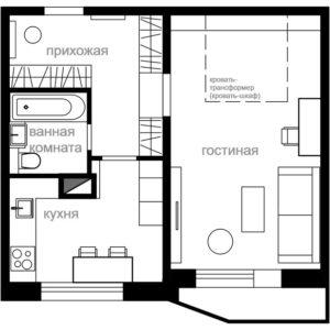 Перепланировка: 3 идеи для однокомнатной квартиры серии П-44