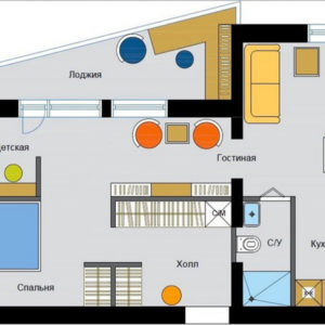 Перепланировка: Двухкомнатные квартиры в домах серии II-68-04