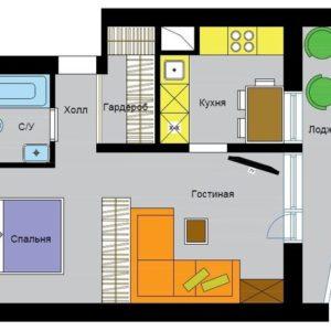 Перепланировка: 5 вариантов для однокомнатной квартиры в доме II-68-04
