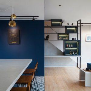 Сингапур: Современная квартира в синем и черном цвете