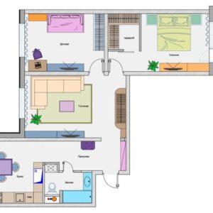Перепланировка: 5 идей для трехкомнатной квартиры серии П-44