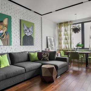 «Однушка» с зелеными стенами