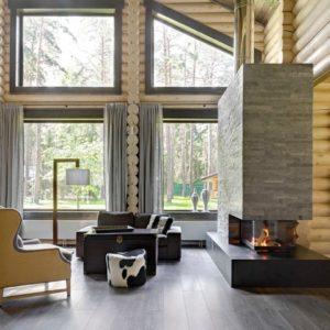 Гостиная в деревянном доме: 18 проектов российских дизайнеров