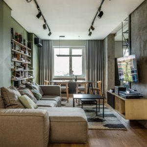 Украина: Квартира для холостяка, который любит зеленый цвет